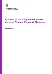 The role of the Independent Sexual Violence Advisor: Essential Elements